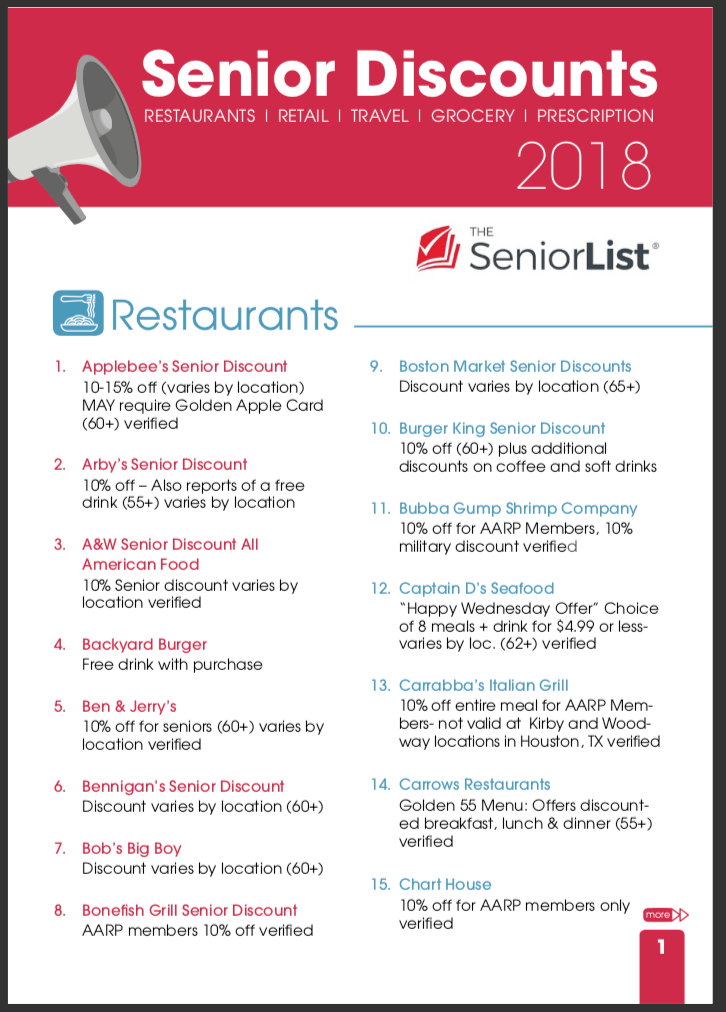 2018 biggest list of senior discounts restaurants retail travel the biggest list yet restaurants retail travel grocery and more enter your email below to get instant access to the free printable list fandeluxe Gallery